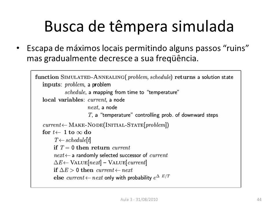 Aula 3 - 31/08/2010 Busca de têmpera simulada Escapa de máximos locais permitindo alguns passos ruins mas gradualmente decresce a sua freqüência.