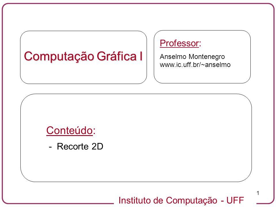 Instituto de Computação - UFF 32 vd 0 0 vd 2 vd 3 0 1 1 vd 1 vf 0 0 vd 0 0 vf 1 vf 2 1 vd 1 vd 2 vd 3 1 vf 3 vf 0 vf 0 vf 3 vf 1 vf 2 0 vd 0 0 0 e 1 vd 1 vd 2 vd 3 1 1 0 vd 0 0 0 e 1 vd 1 vd 2 vd 3 1 1 Recorte 2D: eliminando arestas fantasmas - exemplo