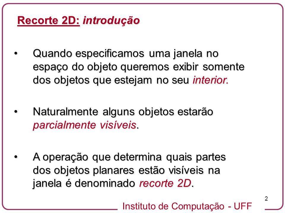 Instituto de Computação - UFF 23 Inclui o problema de recorte de segmentos de reta.Inclui o problema de recorte de segmentos de reta.