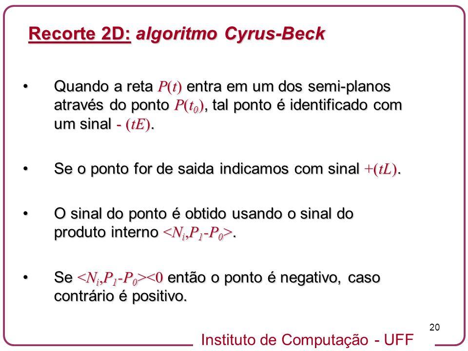 Instituto de Computação - UFF 20 Quando a reta P(t) entra em um dos semi-planos através do ponto P(t 0 ), tal ponto é identificado com um sinal - (tE)