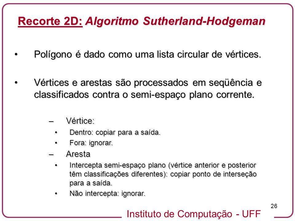 Instituto de Computação - UFF 26 Polígono é dado como uma lista circular de vértices.Polígono é dado como uma lista circular de vértices. Vértices e a