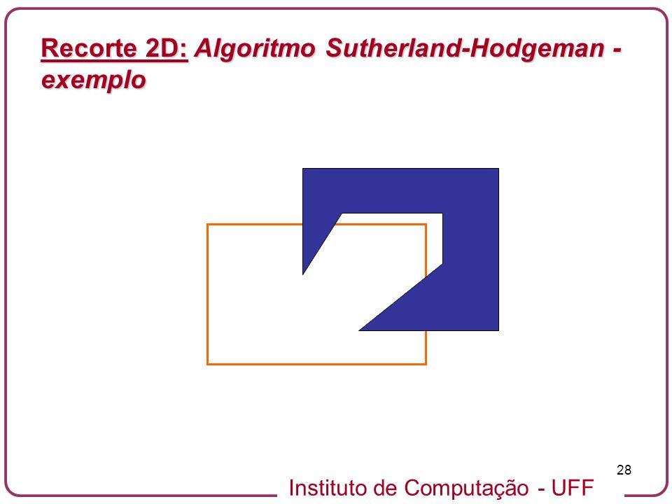 Instituto de Computação - UFF 28 Recorte 2D: Algoritmo Sutherland-Hodgeman - exemplo