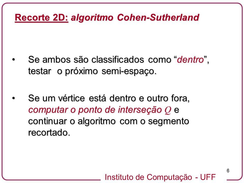 Instituto de Computação - UFF 27 Fora s p Copiar p DentroFora s p Copiar i DentroFora s p Ignorar DentroFora s p Copiar i,p i i Dentro Recorte 2D: Algoritmo Sutherland-Hodgeman