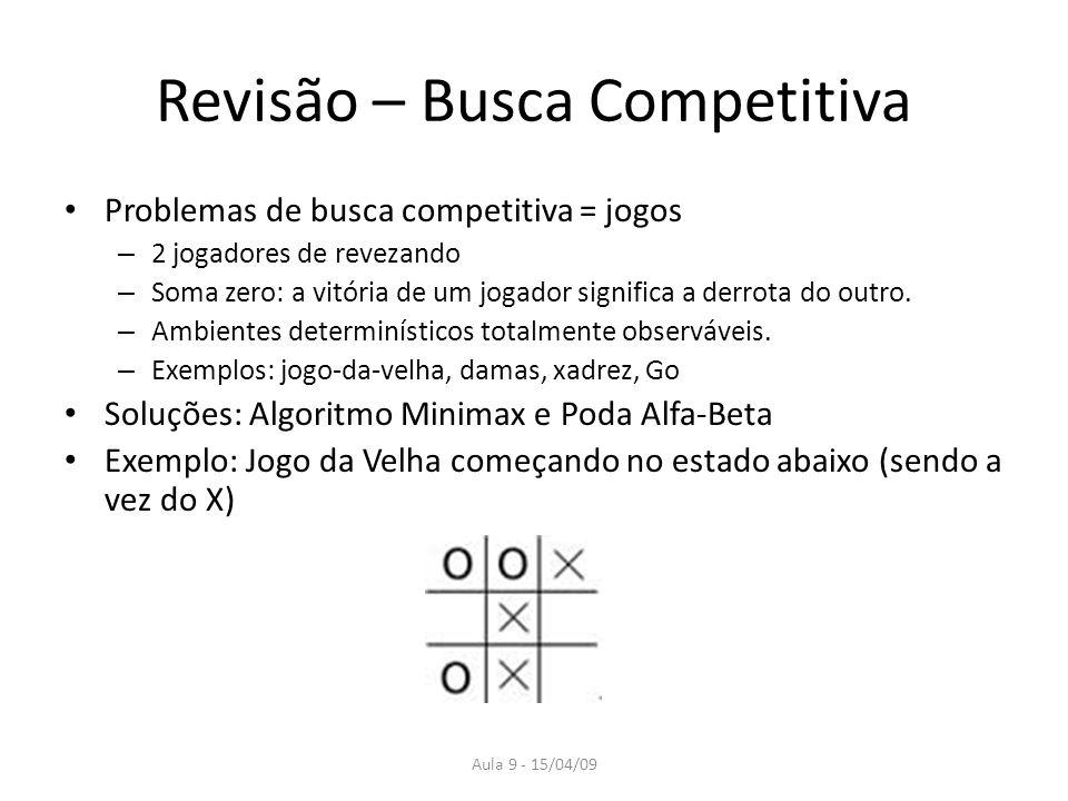 Aula 9 - 15/04/09 Revisão – Busca Competitiva Problemas de busca competitiva = jogos – 2 jogadores de revezando – Soma zero: a vitória de um jogador s