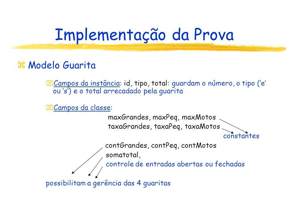 Implementação da Prova zModelo Guarita xCampos da instância: id, tipo, total: guardam o número, o tipo (e ou s) e o total arrecadado pela guarita xCam