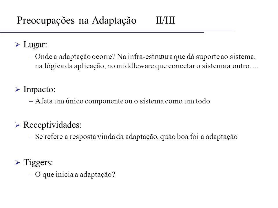 Preocupações na AdaptaçãoII/III Lugar: –Onde a adaptação ocorre? Na infra-estrutura que dá suporte ao sistema, na lógica da aplicação, no middleware q