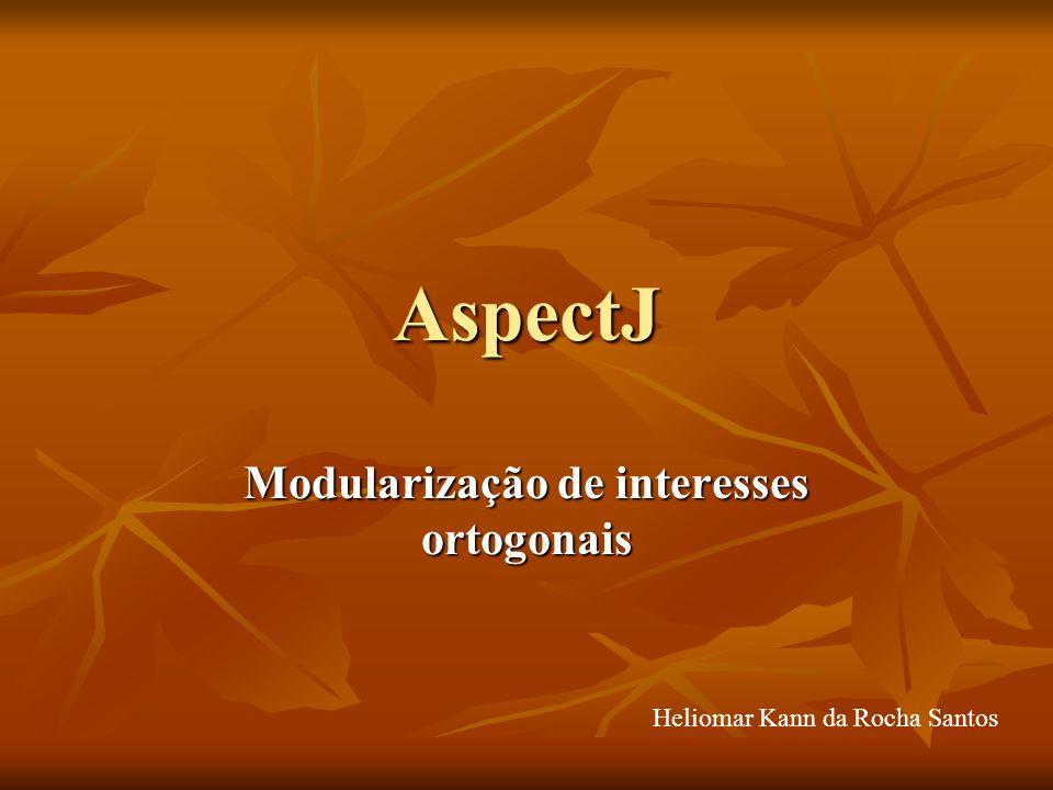 AspectJ Modularização de interesses ortogonais Heliomar Kann da Rocha Santos