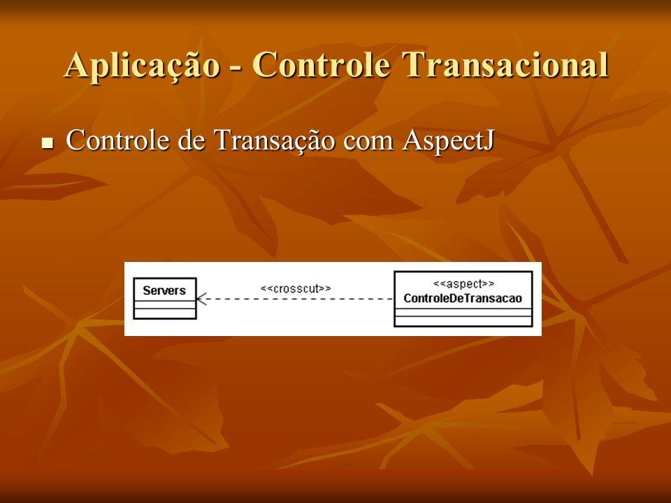 Aplicação - Controle Transacional Controle de Transação com AspectJ Controle de Transação com AspectJ
