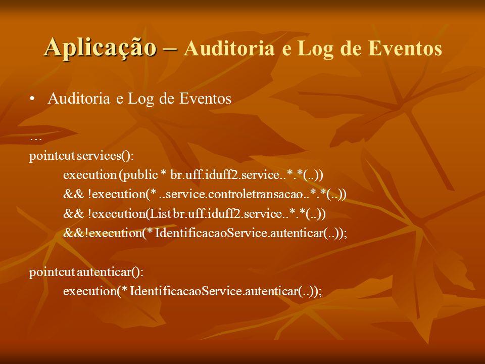 Aplicação – Aplicação – Auditoria e Log de Eventos Auditoria e Log de Eventos … pointcut services(): execution (public * br.uff.iduff2.service..*.*(..