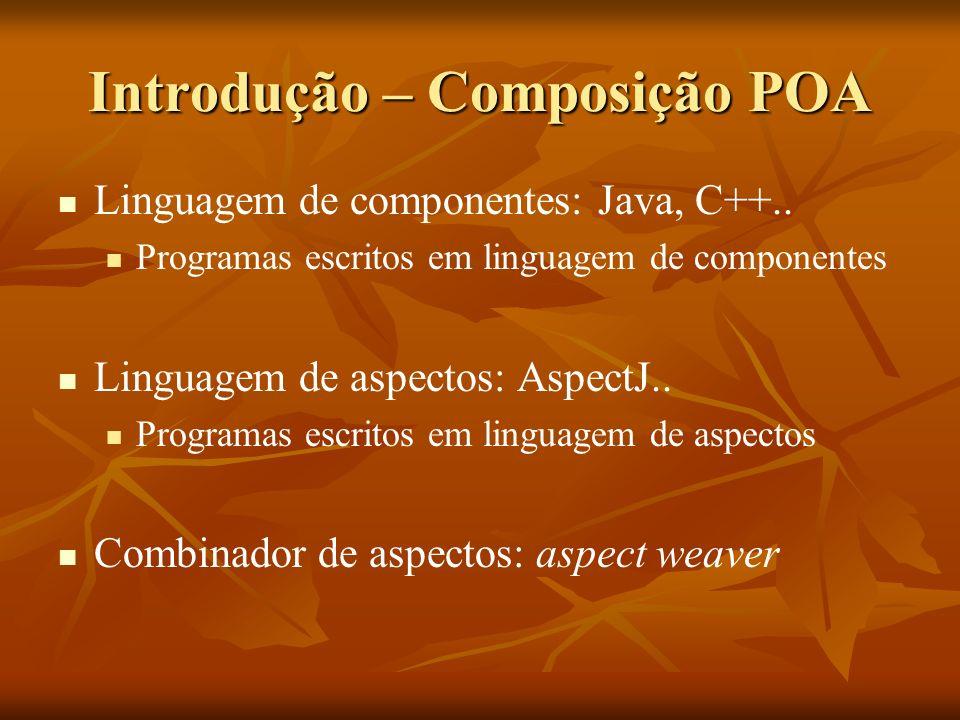 Introdução – Composição POA Linguagem de componentes: Java, C++.. Programas escritos em linguagem de componentes Linguagem de aspectos: AspectJ.. Prog