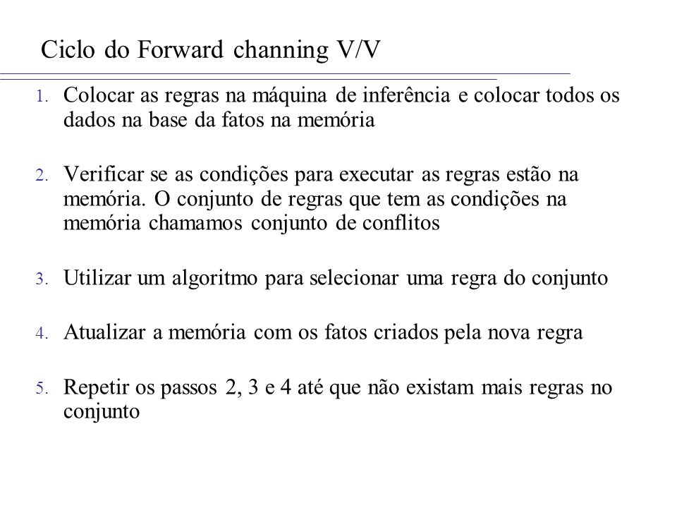 Ciclo do Forward channing V/V 1.