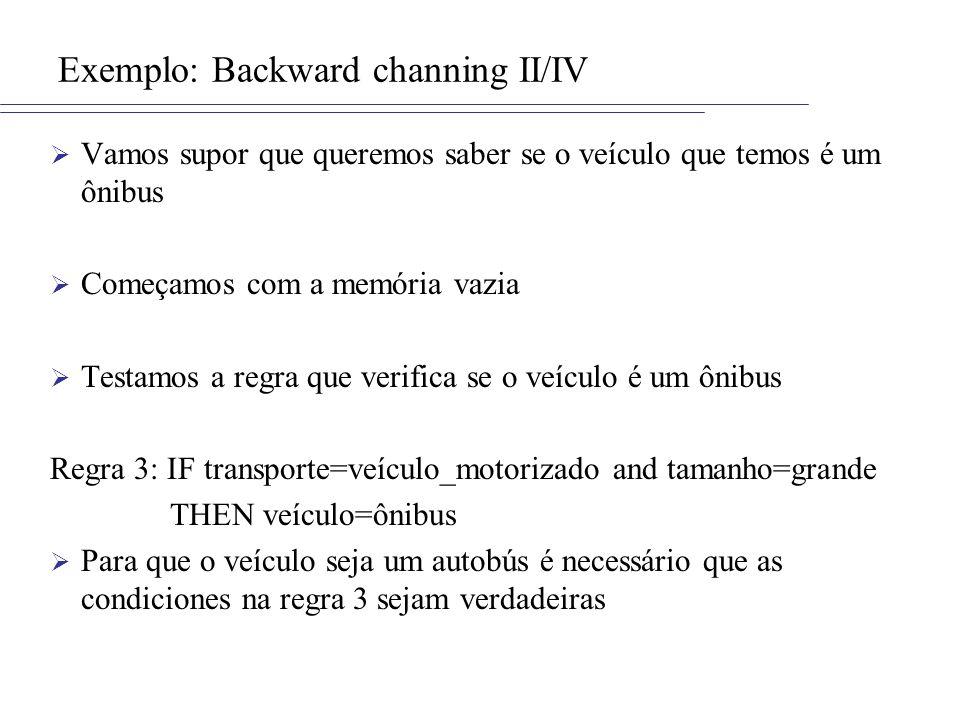 Exemplo: Backward channing II/IV Vamos supor que queremos saber se o veículo que temos é um ônibus Começamos com a memória vazia Testamos a regra que verifica se o veículo é um ônibus Regra 3: IF transporte=veículo_motorizado and tamanho=grande THEN veículo=ônibus Para que o veículo seja um autobús é necessário que as condiciones na regra 3 sejam verdadeiras