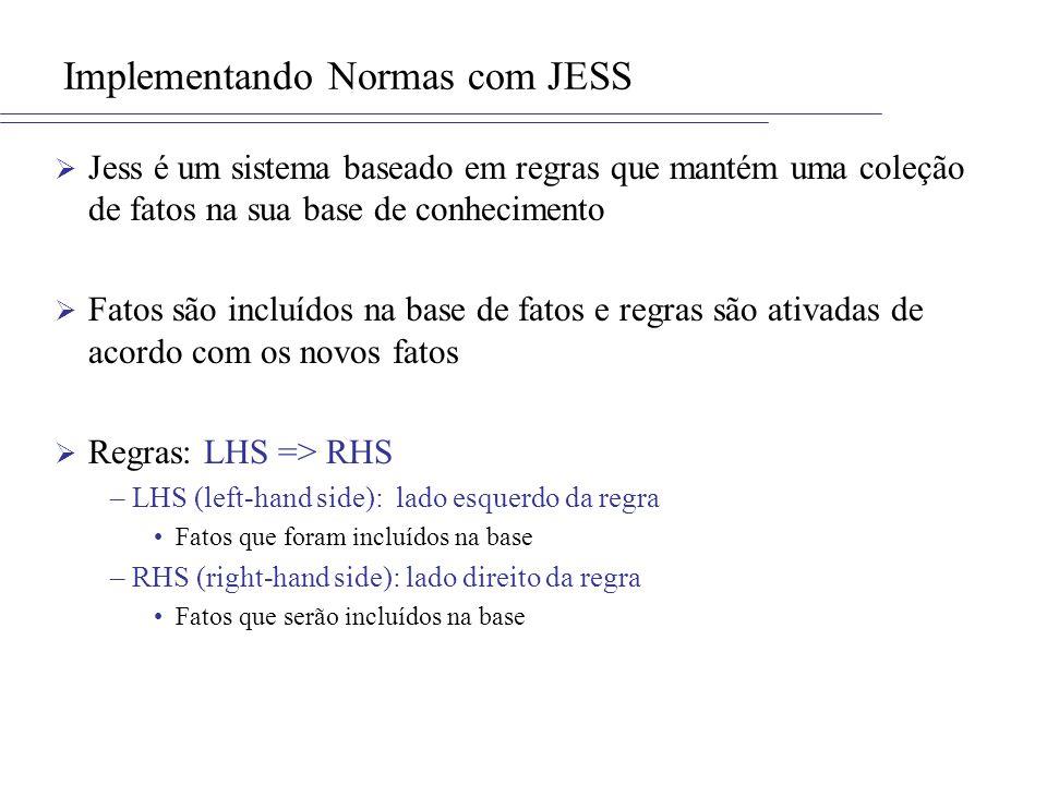 Implementando Normas com JESS Jess é um sistema baseado em regras que mantém uma coleção de fatos na sua base de conhecimento Fatos são incluídos na base de fatos e regras são ativadas de acordo com os novos fatos Regras: LHS => RHS –LHS (left-hand side): lado esquerdo da regra Fatos que foram incluídos na base –RHS (right-hand side): lado direito da regra Fatos que serão incluídos na base