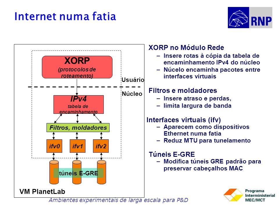 Internet numa fatia XORP (protocolos de roteamento) ifv1ifv2ifv0 IPv4 tabela de encaminhamento Usuário Núcleo Filtros, moldadores VM PlanetLab túneis E-GRE XORP no Módulo Rede –Insere rotas à cópia da tabela de encaminhamento IPv4 do núcleo –Núcelo encaminha pacotes entre interfaces virtuais Filtros e moldadores –Insere atraso e perdas, –limita largura de banda Interfaces virtuais (ifv) –Aparecem como dispositivos Ethernet numa fatia –Reduz MTU para tunelamento Túneis E-GRE –Modifica túneis GRE padrão para preservar cabeçalhos MAC Ambientes experimentais de larga escala para P&D