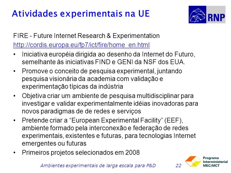 Atividades experimentais na UE FIRE - Future Internet Research & Experimentation http://cordis.europa.eu/fp7/ict/fire/home_en.html Iniciativa européia dirigida ao desenho da Internet do Futuro, semelhante às iniciativas FIND e GENI da NSF dos EUA.