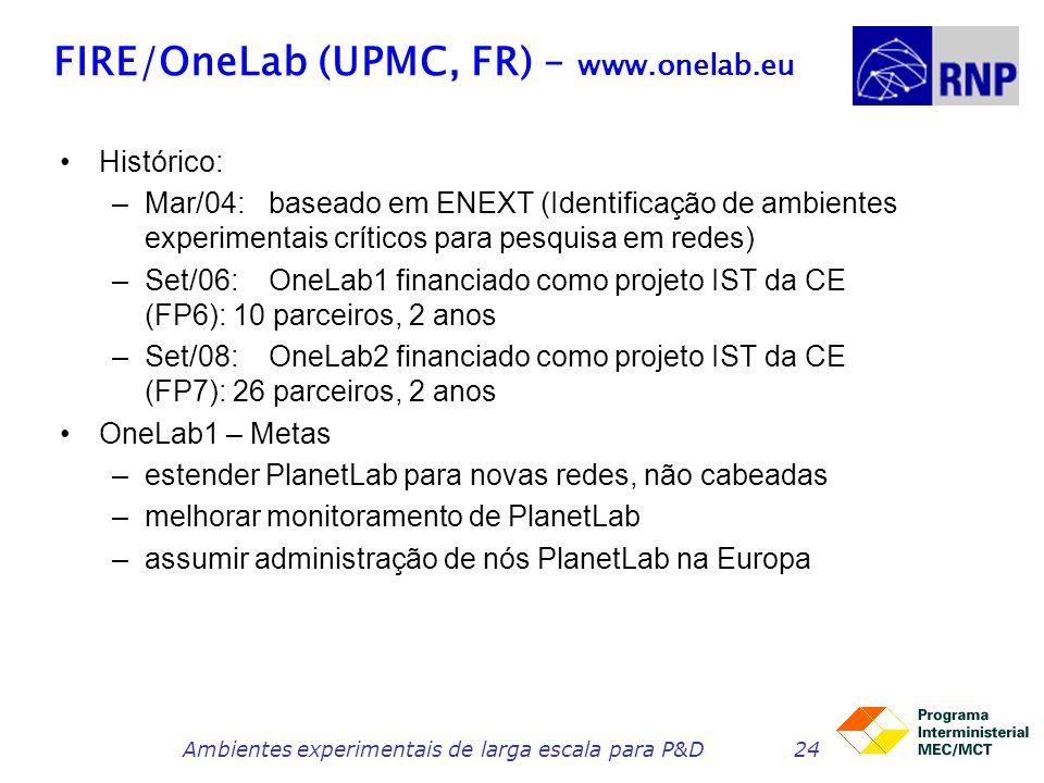 FIRE/OneLab (UPMC, FR) – www.onelab.eu Histórico: –Mar/04:baseado em ENEXT (Identificação de ambientes experimentais críticos para pesquisa em redes) –Set/06:OneLab1 financiado como projeto IST da CE (FP6): 10 parceiros, 2 anos –Set/08: OneLab2 financiado como projeto IST da CE (FP7): 26 parceiros, 2 anos OneLab1 – Metas –estender PlanetLab para novas redes, não cabeadas –melhorar monitoramento de PlanetLab –assumir administração de nós PlanetLab na Europa Ambientes experimentais de larga escala para P&D24