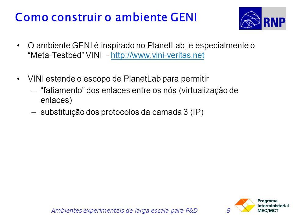 Como construir o ambiente GENI O ambiente GENI é inspirado no PlanetLab, e especialmente o Meta-Testbed VINI - http://www.vini-veritas.net VINI estende o escopo de PlanetLab para permitir –fatiamento dos enlaces entre os nós (virtualização de enlaces) –substituição dos protocolos da camada 3 (IP) Ambientes experimentais de larga escala para P&D5