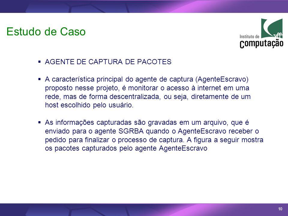 10 Estudo de Caso AGENTE DE CAPTURA DE PACOTES A característica principal do agente de captura (AgenteEscravo) proposto nesse projeto, é monitorar o a