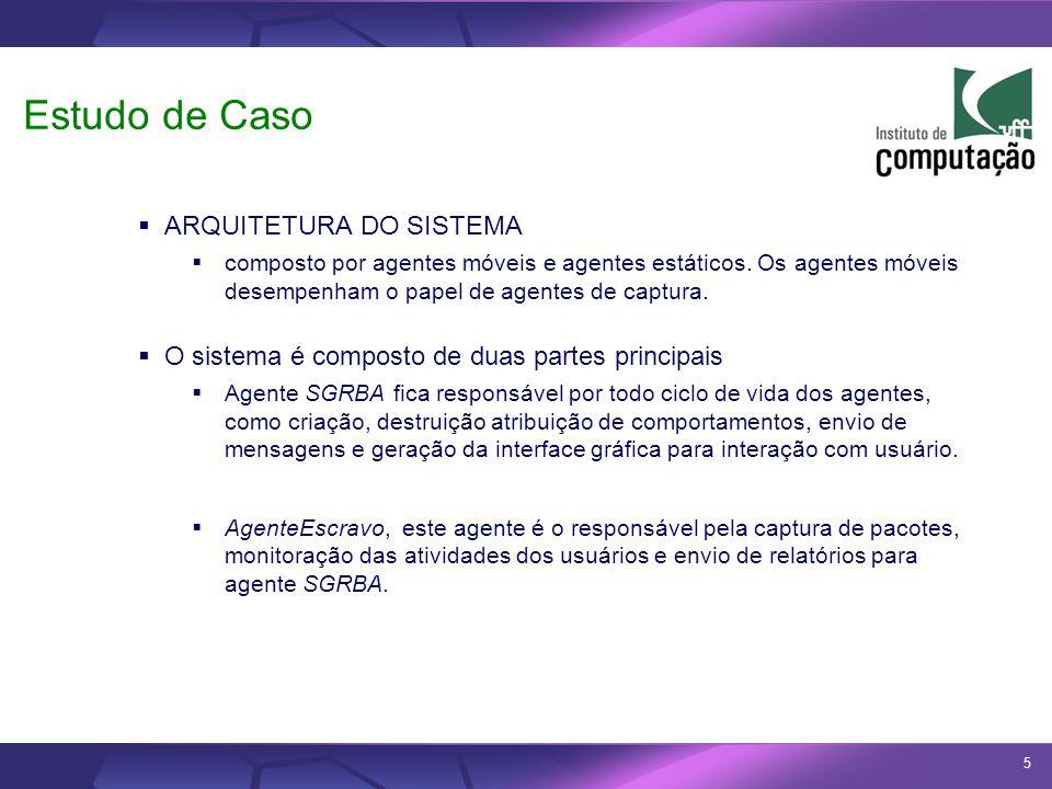 5 Estudo de Caso ARQUITETURA DO SISTEMA composto por agentes móveis e agentes estáticos. Os agentes móveis desempenham o papel de agentes de captura.