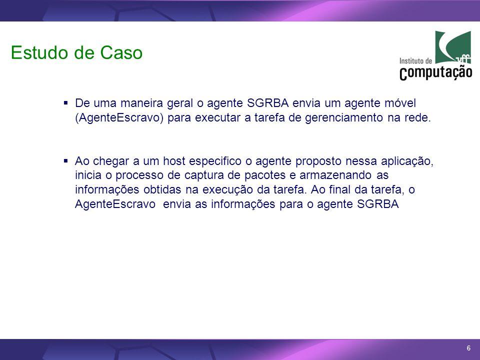6 Estudo de Caso De uma maneira geral o agente SGRBA envia um agente móvel (AgenteEscravo) para executar a tarefa de gerenciamento na rede. Ao chegar