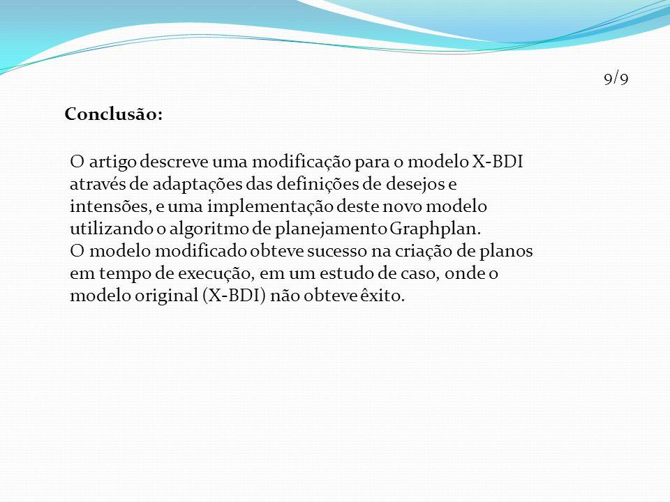 Conclusão: 9/9 O artigo descreve uma modificação para o modelo X-BDI através de adaptações das definições de desejos e intensões, e uma implementação deste novo modelo utilizando o algoritmo de planejamento Graphplan.