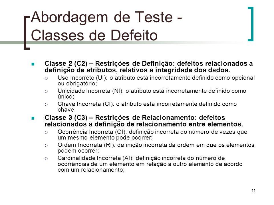 11 Abordagem de Teste - Classes de Defeito Classe 2 (C2) – Restrições de Definição: defeitos relacionados a definição de atributos, relativos a integridade dos dados.