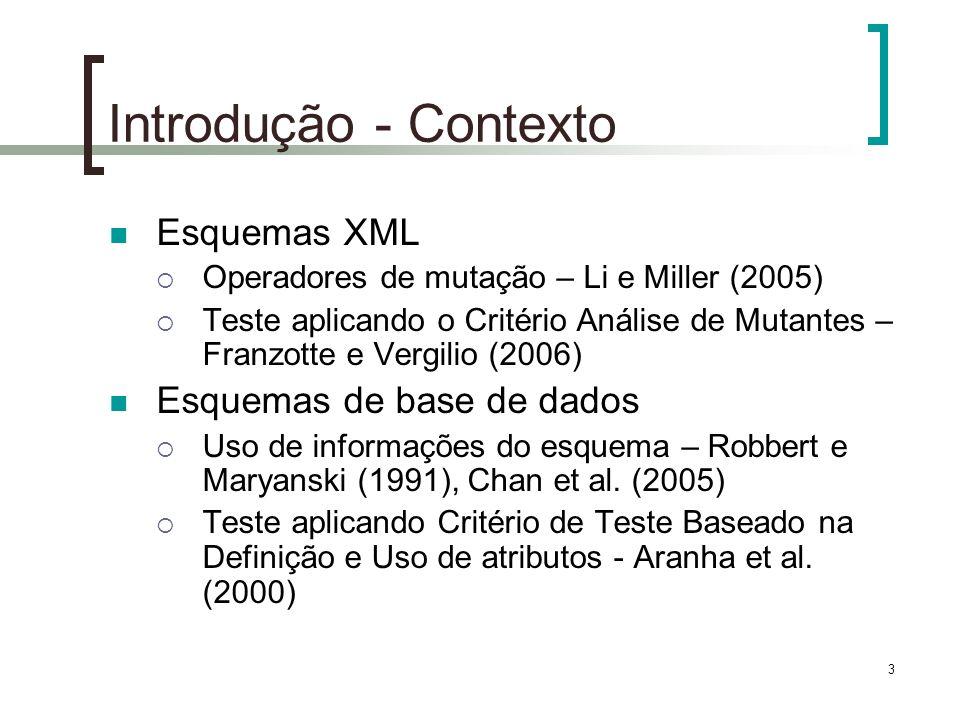 3 Introdução - Contexto Esquemas XML Operadores de mutação – Li e Miller (2005) Teste aplicando o Critério Análise de Mutantes – Franzotte e Vergilio (2006) Esquemas de base de dados Uso de informações do esquema – Robbert e Maryanski (1991), Chan et al.