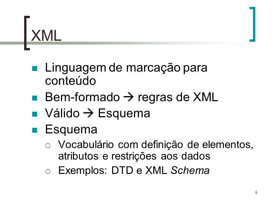 6 XML Linguagem de marcação para conteúdo Bem-formado regras de XML Válido Esquema Esquema Vocabulário com definição de elementos, atributos e restrições aos dados Exemplos: DTD e XML Schema