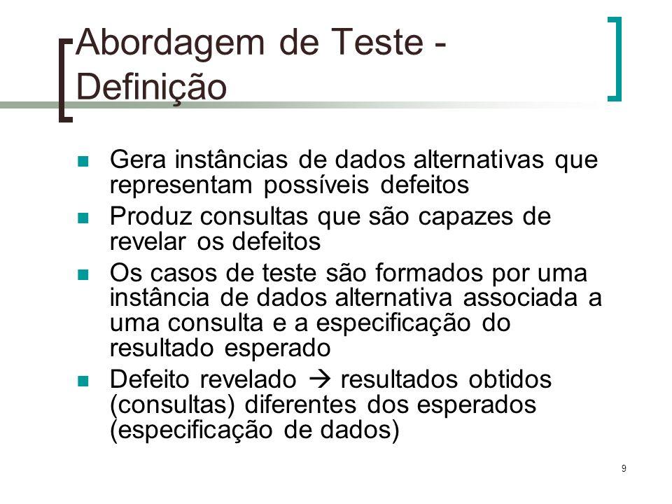 10 Abordagem de Teste - Classes de Defeito Classe 1 (C1) – Restrições de Domínio: defeitos relacionados a definição de domínio dos conteúdos de elementos ou atributos.
