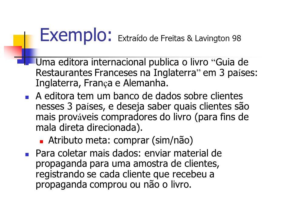 Exemplo: Extraído de Freitas & Lavington 98 Uma editora internacional publica o livro Guia de Restaurantes Franceses na Inglaterra em 3 pa í ses: Ingl
