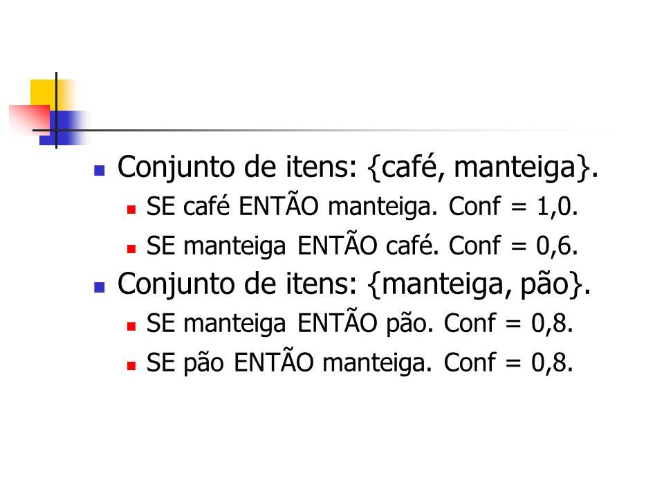 Conjunto de itens: {café, manteiga}. SE café ENTÃO manteiga. Conf = 1,0. SE manteiga ENTÃO café. Conf = 0,6. Conjunto de itens: {manteiga, pão}. SE ma