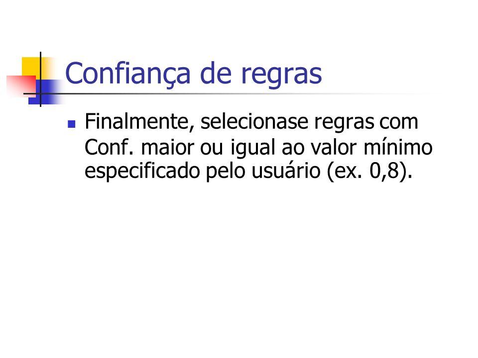 Confiança de regras Finalmente, selecionase regras com Conf. maior ou igual ao valor mínimo especificado pelo usuário (ex. 0,8).