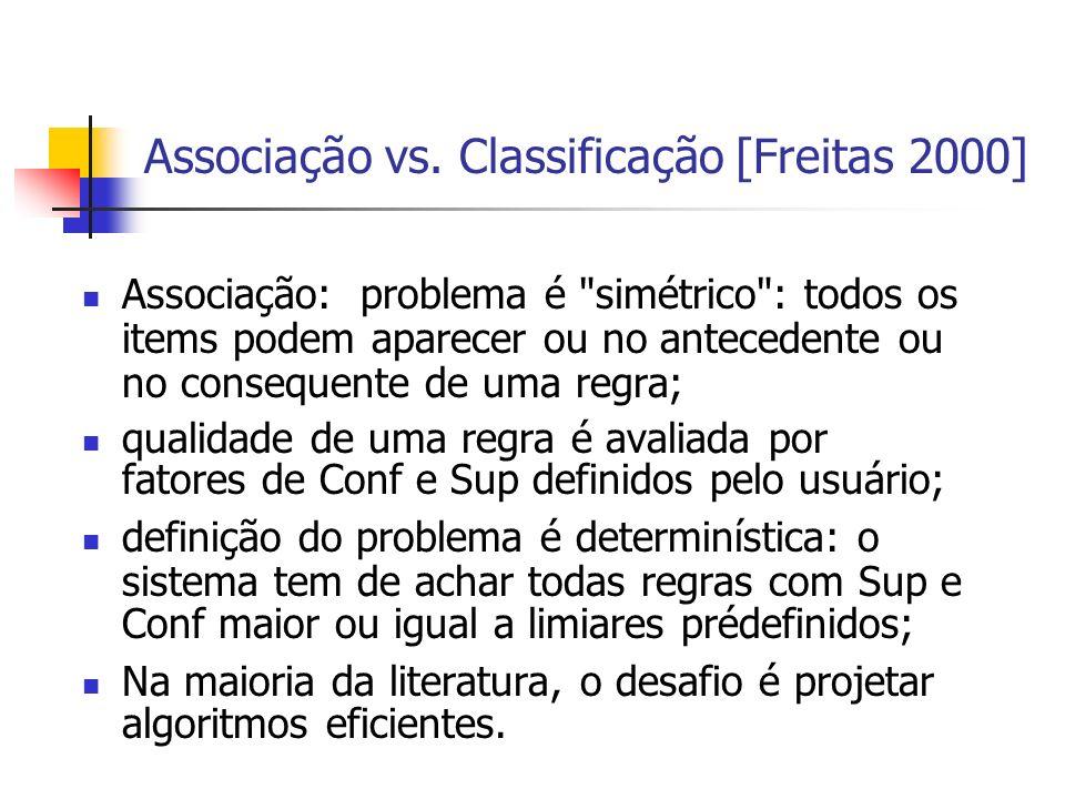 Associação vs. Classificação [Freitas 2000] Associação: problema é