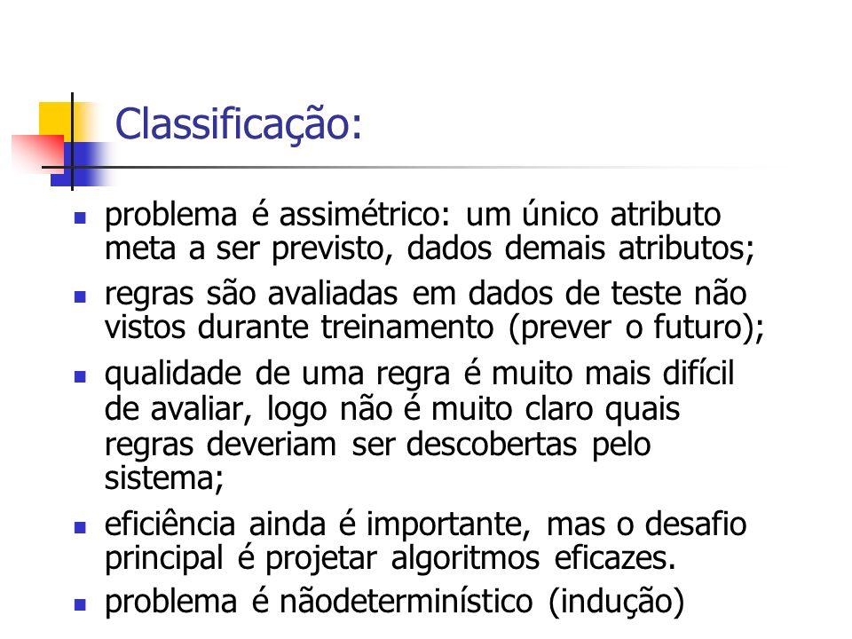 Classificação: problema é assimétrico: um único atributo meta a ser previsto, dados demais atributos; regras são avaliadas em dados de teste não visto