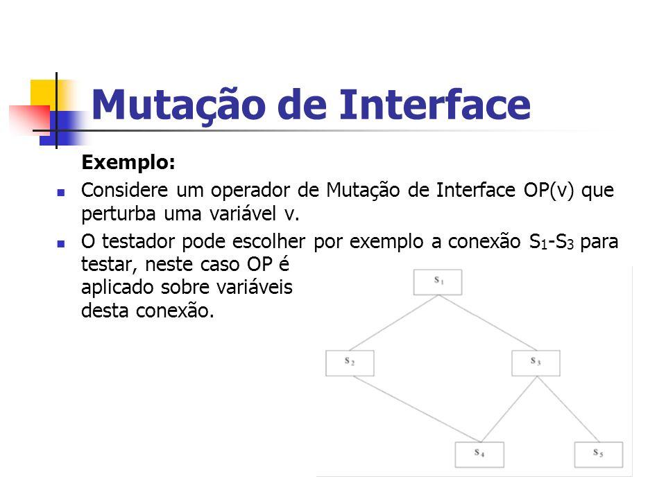 Mutação de Interface Exemplo: Considere um operador de Mutação de Interface OP(v) que perturba uma variável v.
