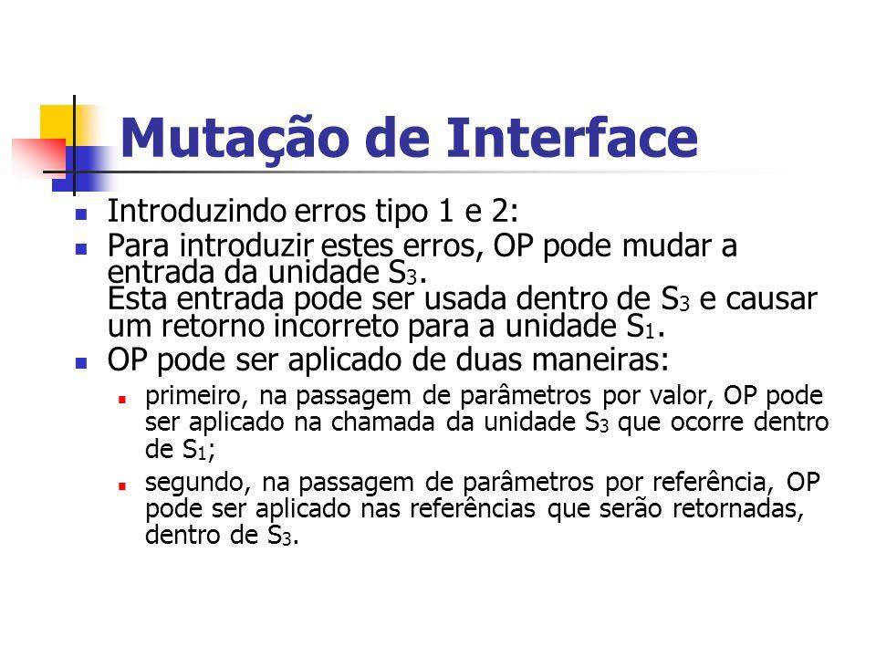Mutação de Interface Introduzindo erros tipo 1 e 2: Para introduzir estes erros, OP pode mudar a entrada da unidade S 3.