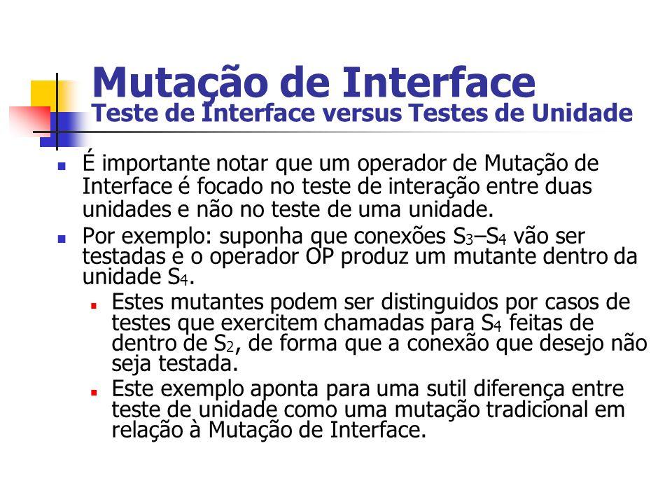 Mutação de Interface Teste de Interface versus Testes de Unidade É importante notar que um operador de Mutação de Interface é focado no teste de interação entre duas unidades e não no teste de uma unidade.