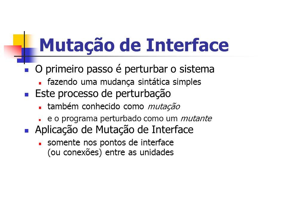Mutação de Interface O primeiro passo é perturbar o sistema fazendo uma mudança sintática simples Este processo de perturbação também conhecido como mutação e o programa perturbado como um mutante Aplicação de Mutação de Interface somente nos pontos de interface (ou conexões) entre as unidades