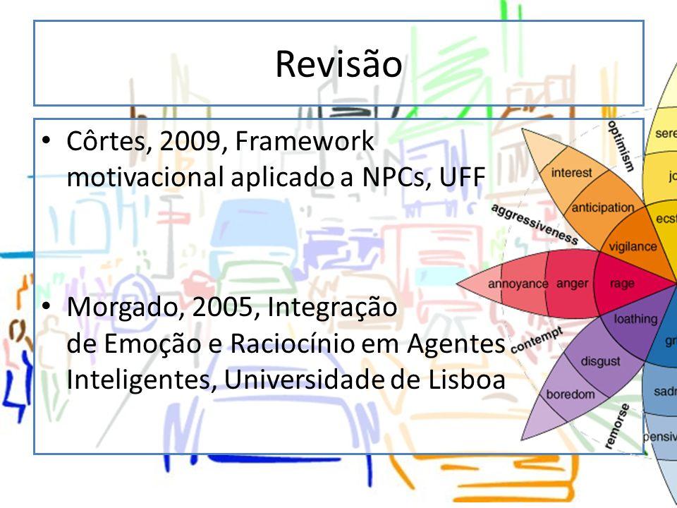 Revisão Côrtes, 2009, Framework motivacional aplicado a NPCs, UFF Morgado, 2005, Integração de Emoção e Raciocínio em Agentes Inteligentes, Universida