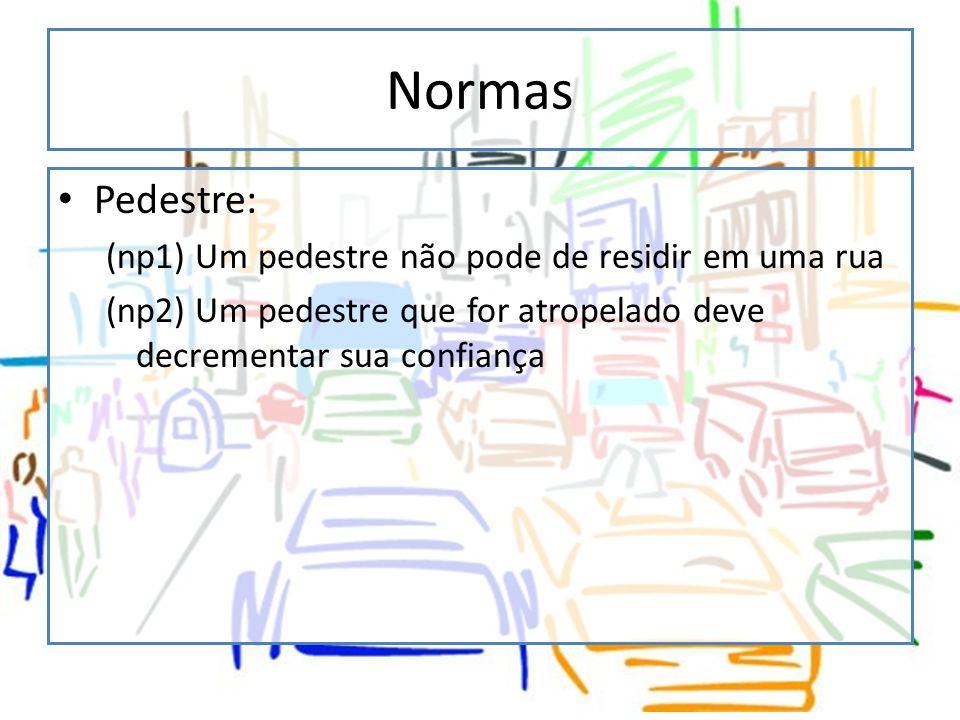 Normas Pedestre: (np1) Um pedestre não pode de residir em uma rua (np2) Um pedestre que for atropelado deve decrementar sua confiança