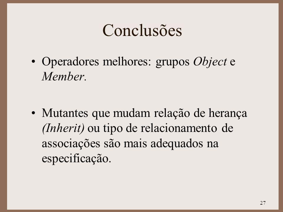 27 Conclusões Operadores melhores: grupos Object e Member. Mutantes que mudam relação de herança (Inherit) ou tipo de relacionamento de associações sã