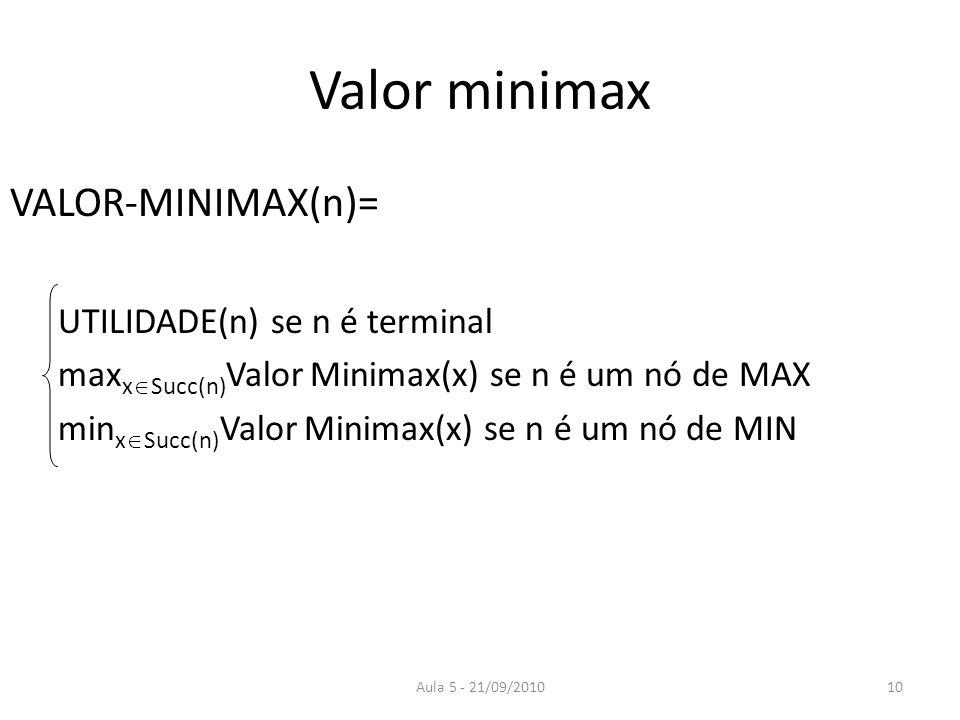 Aula 5 - 21/09/2010 Valor minimax VALOR-MINIMAX(n)= UTILIDADE(n) se n é terminal max x Succ(n) Valor Minimax(x) se n é um nó de MAX min x Succ(n) Valo