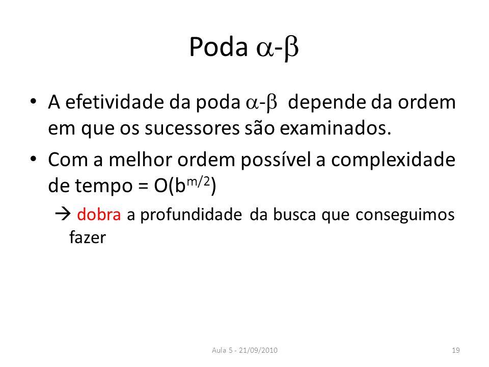 Aula 5 - 21/09/2010 Poda - A efetividade da poda - depende da ordem em que os sucessores são examinados. Com a melhor ordem possível a complexidade de