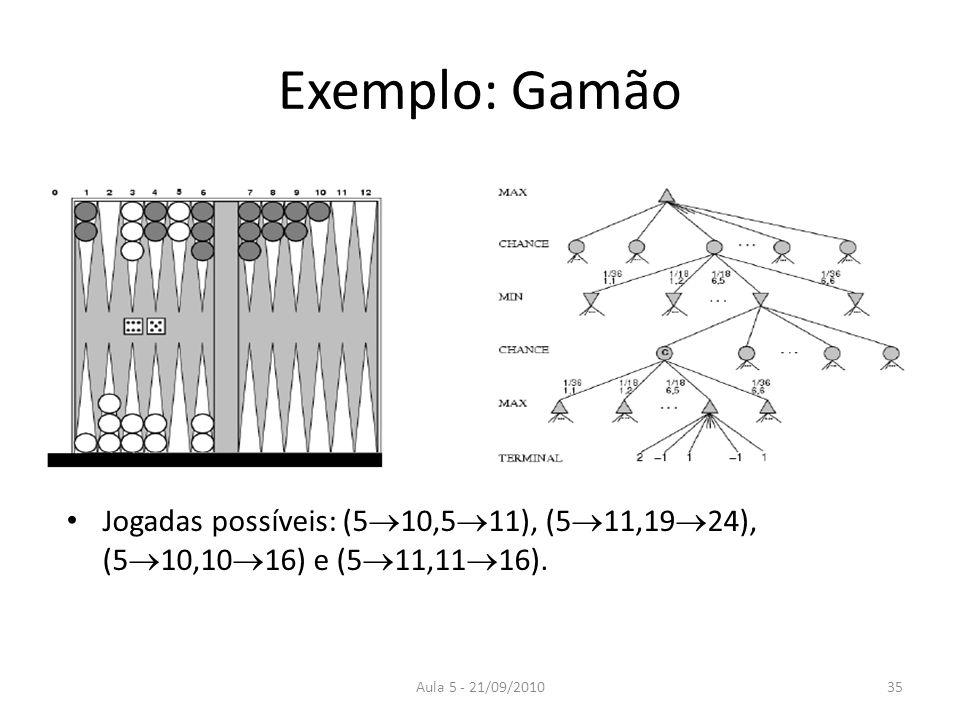 Aula 5 - 21/09/2010 Exemplo: Gamão Jogadas possíveis: (5 10,5 11), (5 11,19 24), (5 10,10 16) e (5 11,11 16). 35