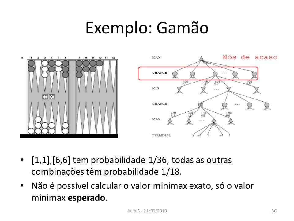Aula 5 - 21/09/2010 Exemplo: Gamão [1,1],[6,6] tem probabilidade 1/36, todas as outras combinações têm probabilidade 1/18. Não é possível calcular o v