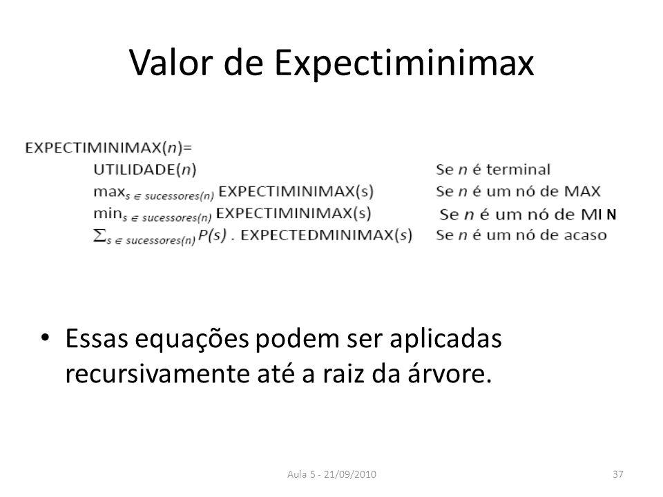 Aula 5 - 21/09/2010 Valor de Expectiminimax Essas equações podem ser aplicadas recursivamente até a raiz da árvore. I N 37
