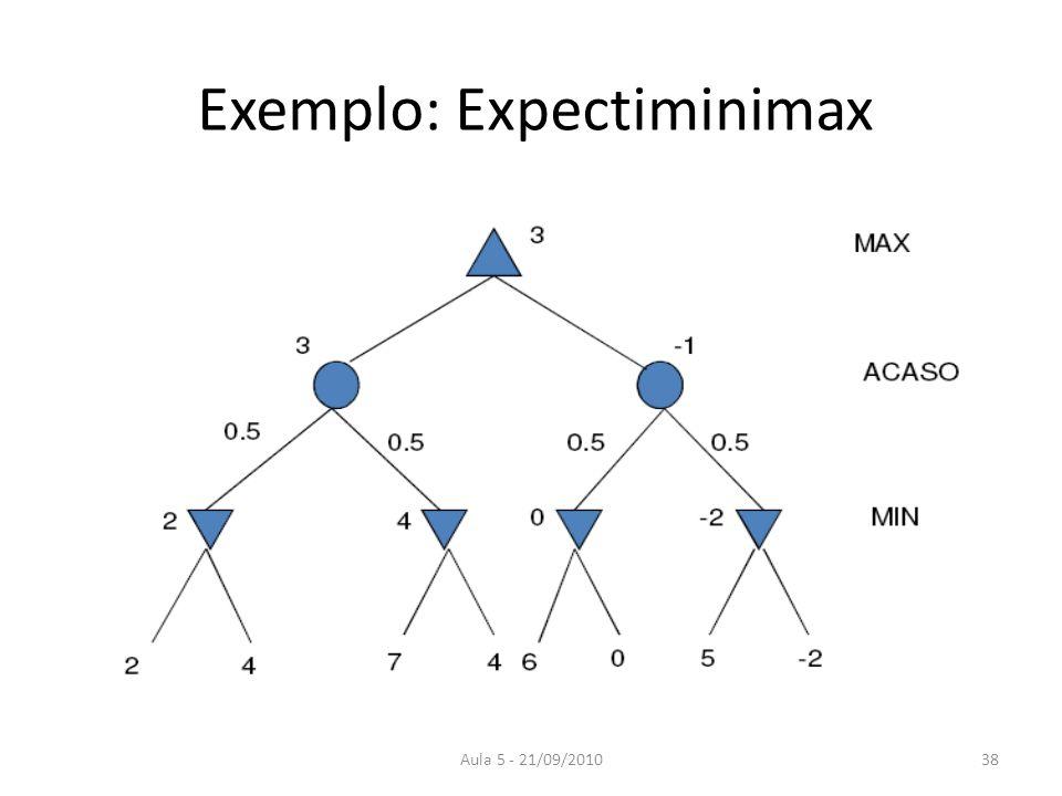Aula 5 - 21/09/2010 Exemplo: Expectiminimax 38