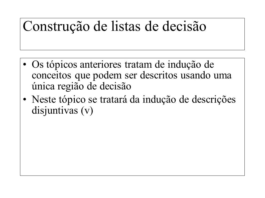 Construção de listas de decisão Os tópicos anteriores tratam de indução de conceitos que podem ser descritos usando uma única região de decisão Neste