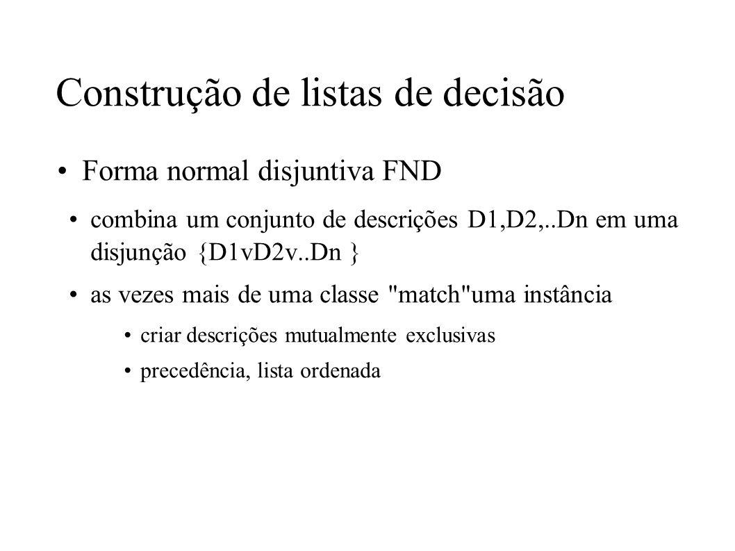 Forma normal disjuntiva FND combina um conjunto de descrições D1,D2,..Dn em uma disjunção {D1vD2v..Dn } as vezes mais de uma classe