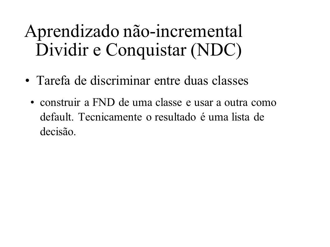 Aprendizado não-incremental Dividir e Conquistar (NDC) Tarefa de discriminar entre duas classes construir a FND de uma classe e usar a outra como defa